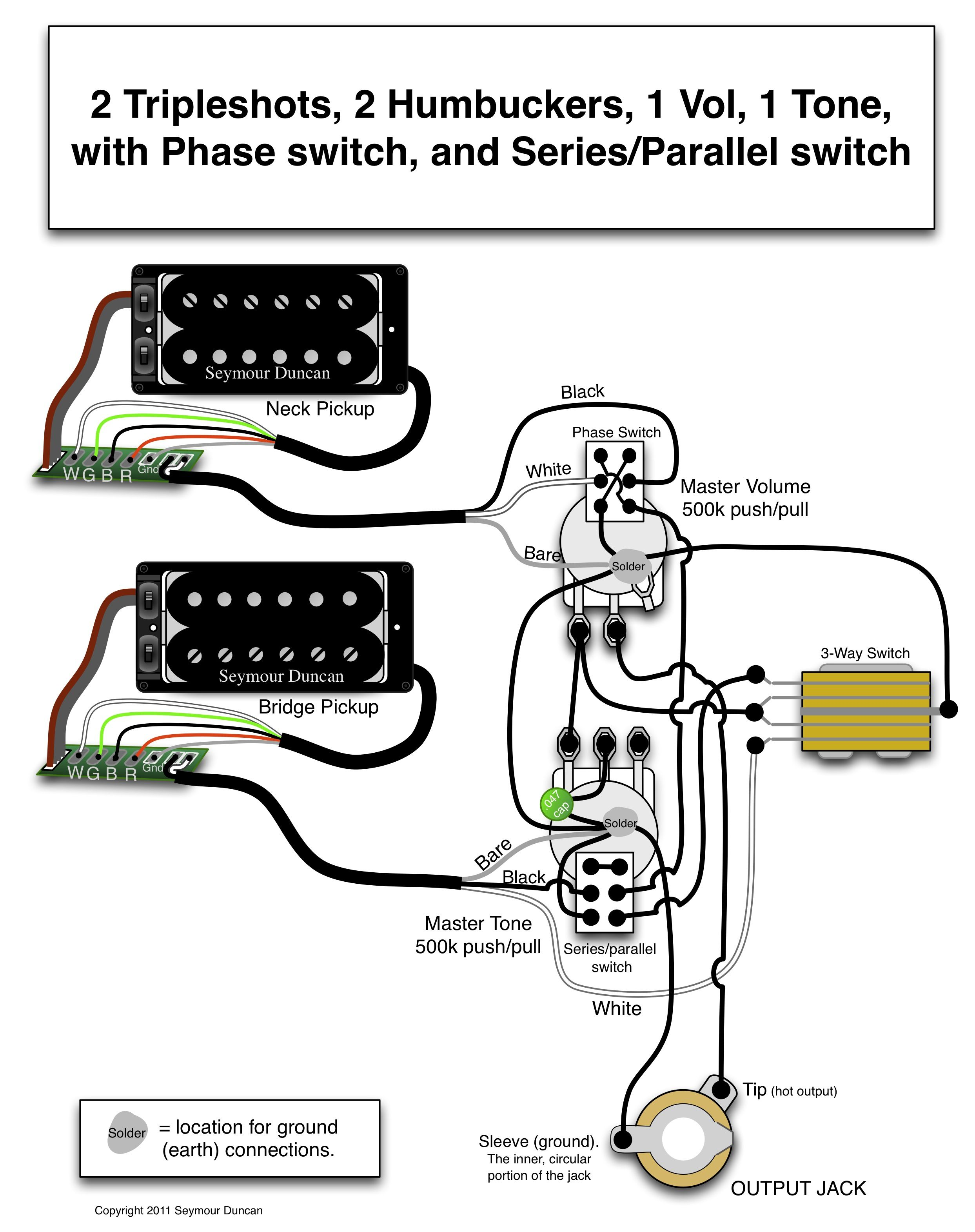 guitar wiring diagram 2 pickup 1 volume tone 2008 honda civic audio seymour duncan triple shots