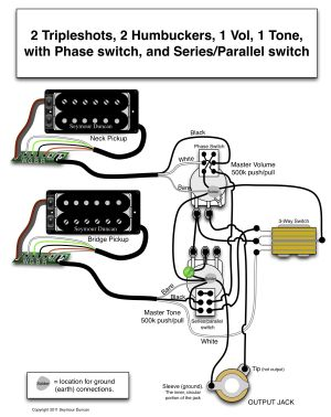 Seymour Duncan wiring diagram  2 Triple Shots, 2 Humbuckers, 1 Vol with Phase switch, 1 Tone