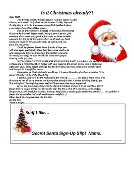 Use this Secret Santa letter for staff members to engage