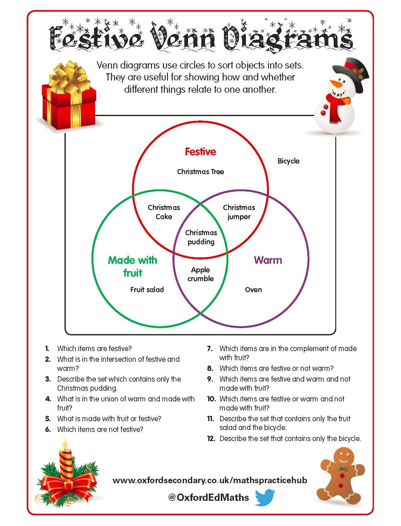 This Christmas Themed Worksheet Features Venn Diagrams With Fun Festive Activities For Your Ks3
