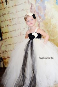 Beautiful ivory and black flower girl dress for wedding ...