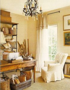 Country chic home office studio by pamela pierce and donna temple brown love the window treatment elegant but casual also use of wicker baskets in this really like rh za pinterest