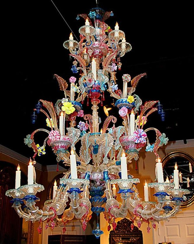 This Elaborate Murano Glass Chandelier Is In Excellent Featuring 24 Lights With Fabulous N Wonderful Colors Wired And