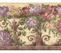 Victorian Antique Floral Violet Wallpaper Border | Colour ...