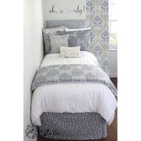best college dorm room bedding for girl purple and gray ...