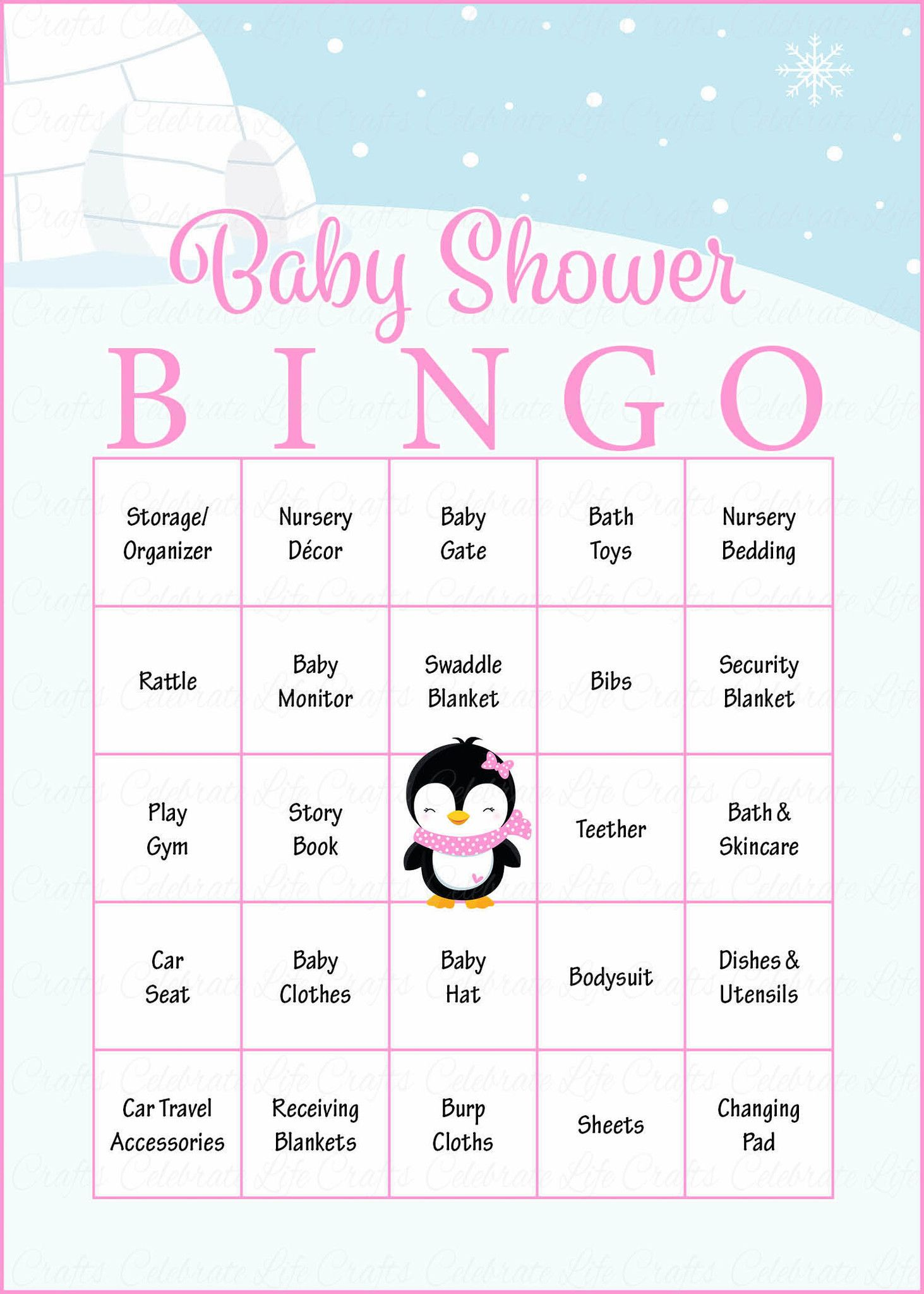 Winter Baby Bingo Cards