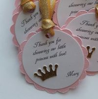 Pink and gold glitter baby shower favor tags * princess ...
