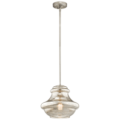 Brushed Nickel Pendant Lighting Kitchen Sink With Side Drain Board Mercury Glass Shade Kichler Everly 1 Light