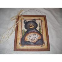 Black Bear Country Bath Wooden Wall Art Sign Lodge ...