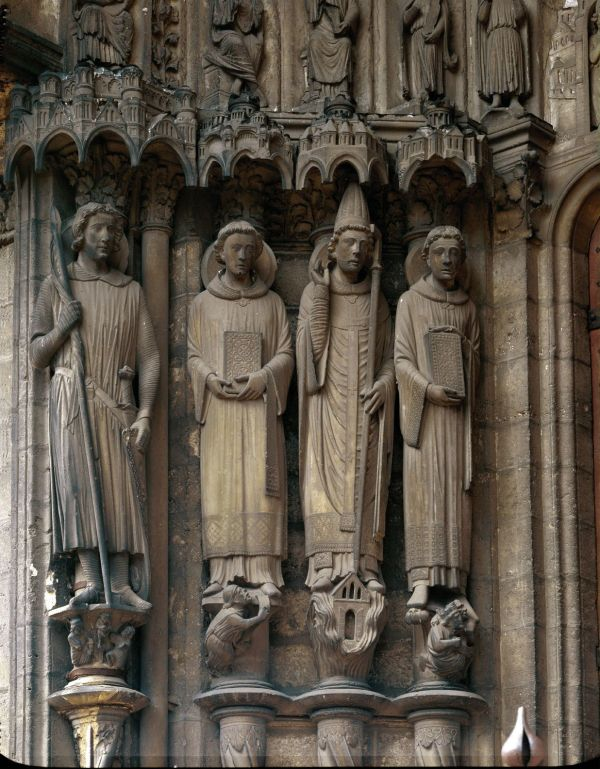Sculpture Saints Theodore Stephen Clement And Lawrence
