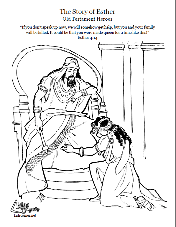 Story of Esther. Coloring page, script and Bbile story