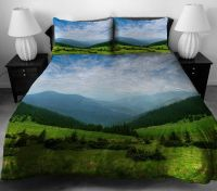 Nature scenery bedding set mountains duvet cover cloud bed ...