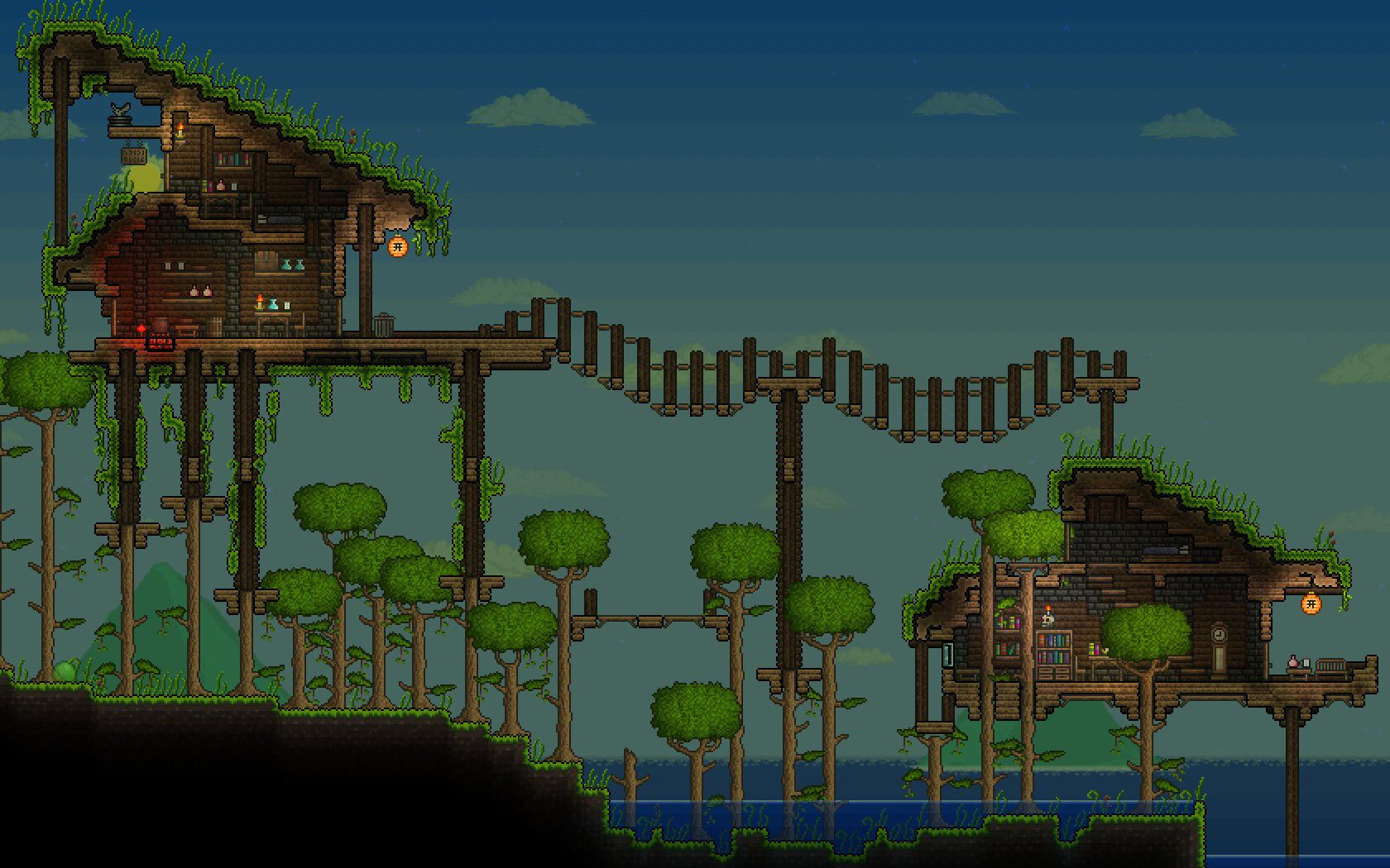 Terraria House Ideas Open Jungle Base Terraria Bases