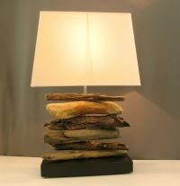 Modern driftwood lamp with modern rectangular lampshade ...