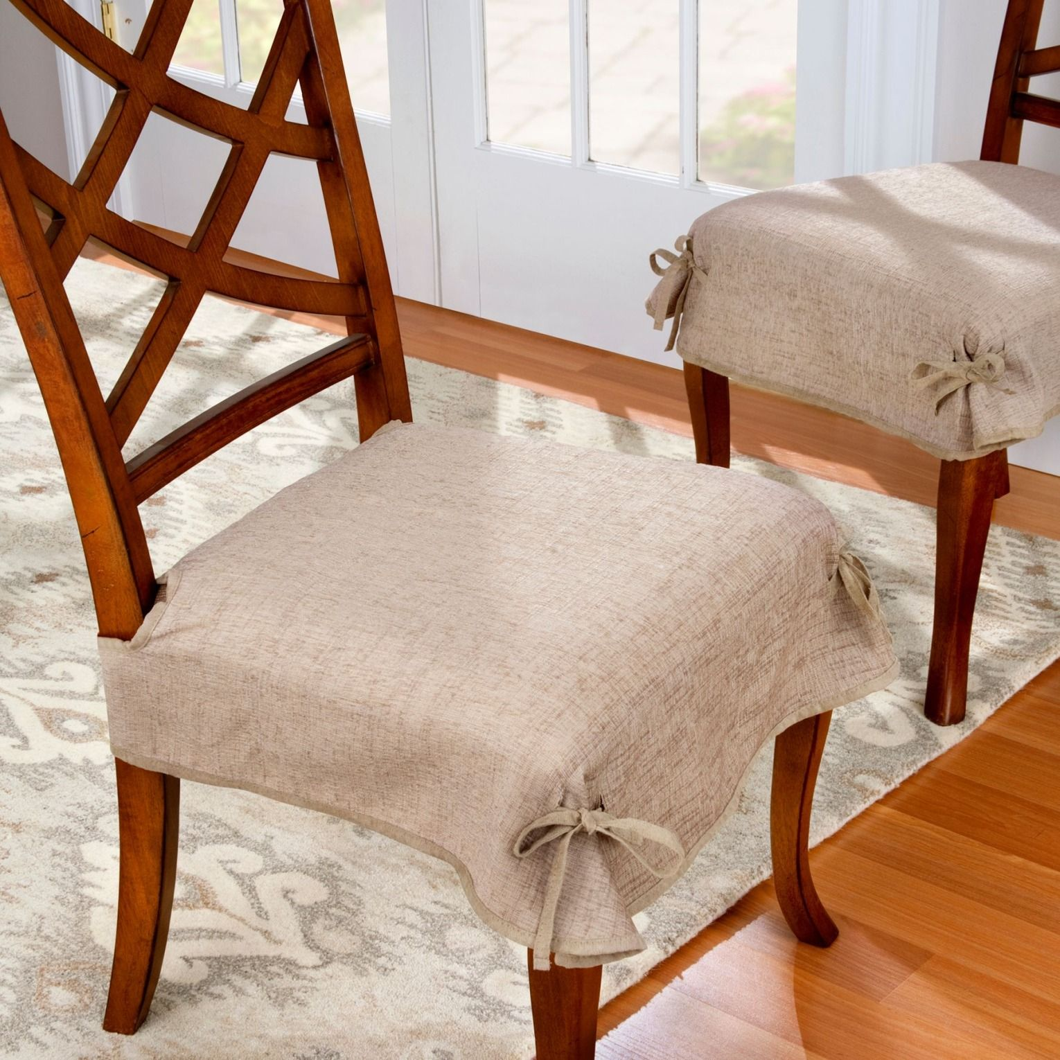 dining room chair leg covers outdoor rattan rocking uk chenille seat set of 2 furniture