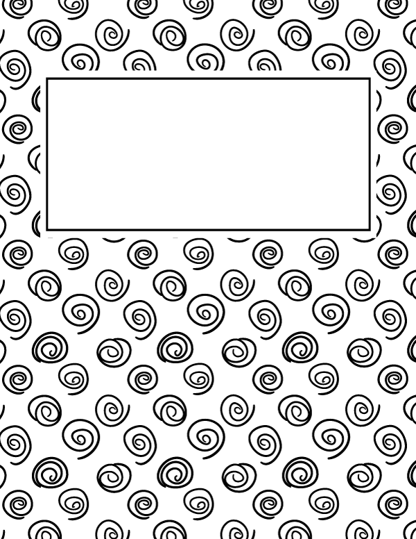 Free printable black and white spiral binder cover