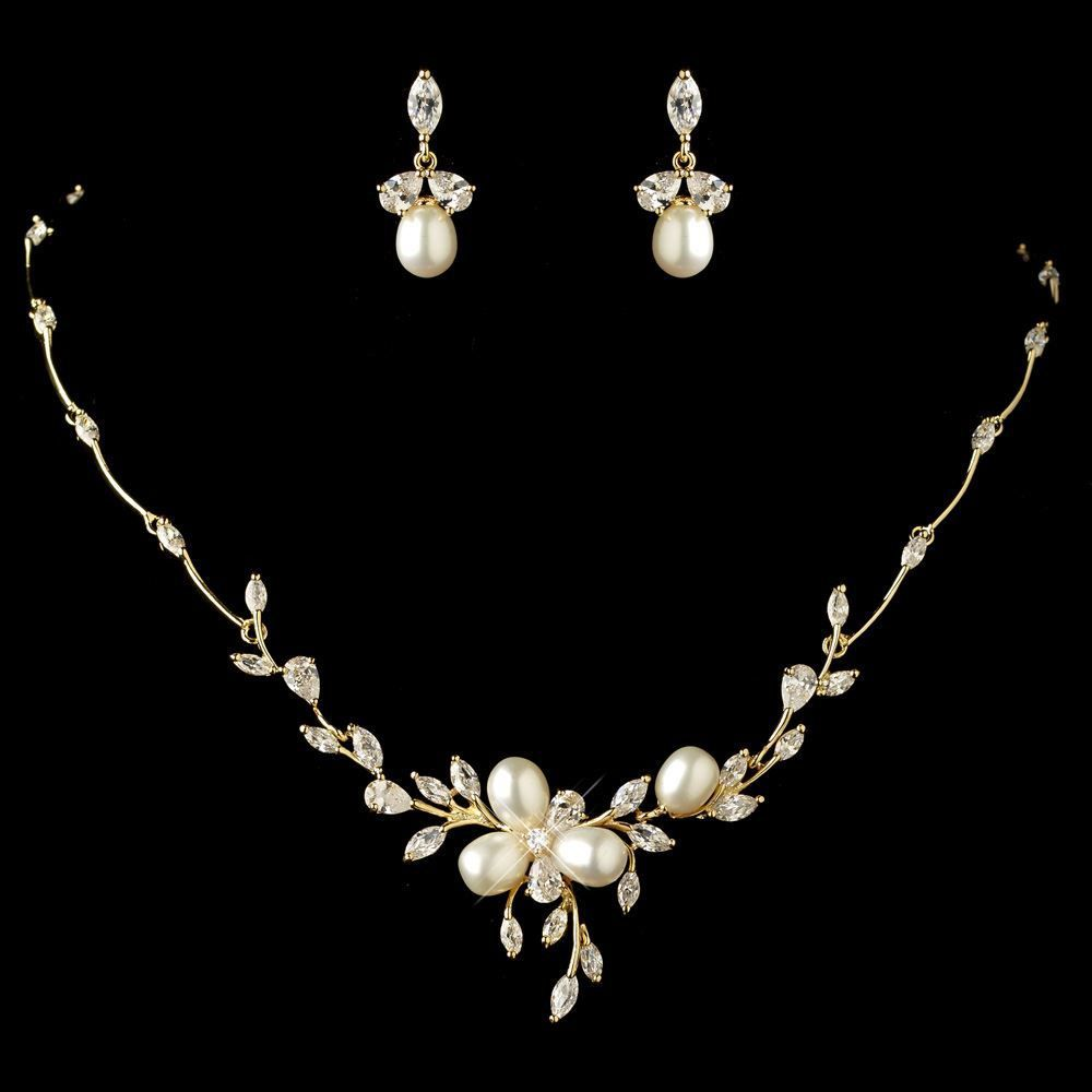 Freshwater Pearl and CZ Gold or Rose Gold Wedding Jewelry