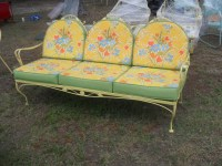 Early Ornate Fancy Vintage Metal Settee With Cushions ...