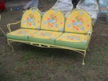 Early Ornate Fancy Vintage Metal Settee With Cushions