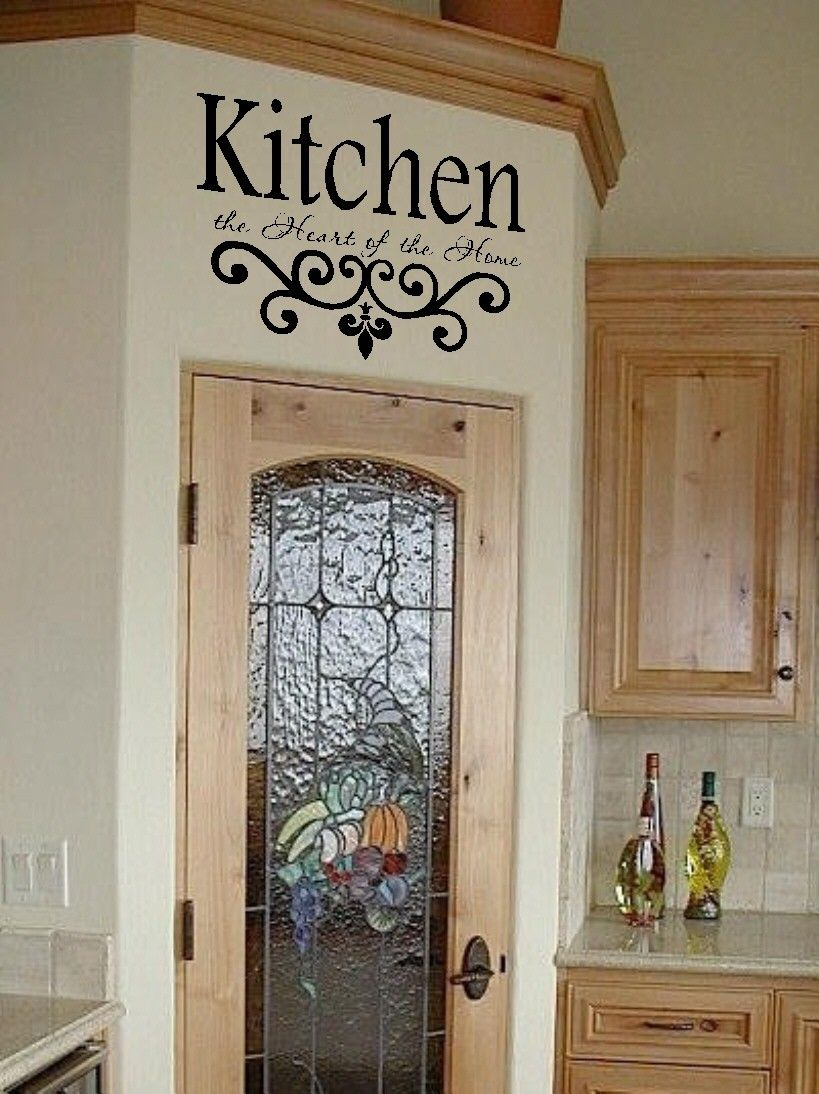Kitchen vinyl wall decal the heart of home lettering decor sticky also best images about cleaning tips on pinterest decals rh