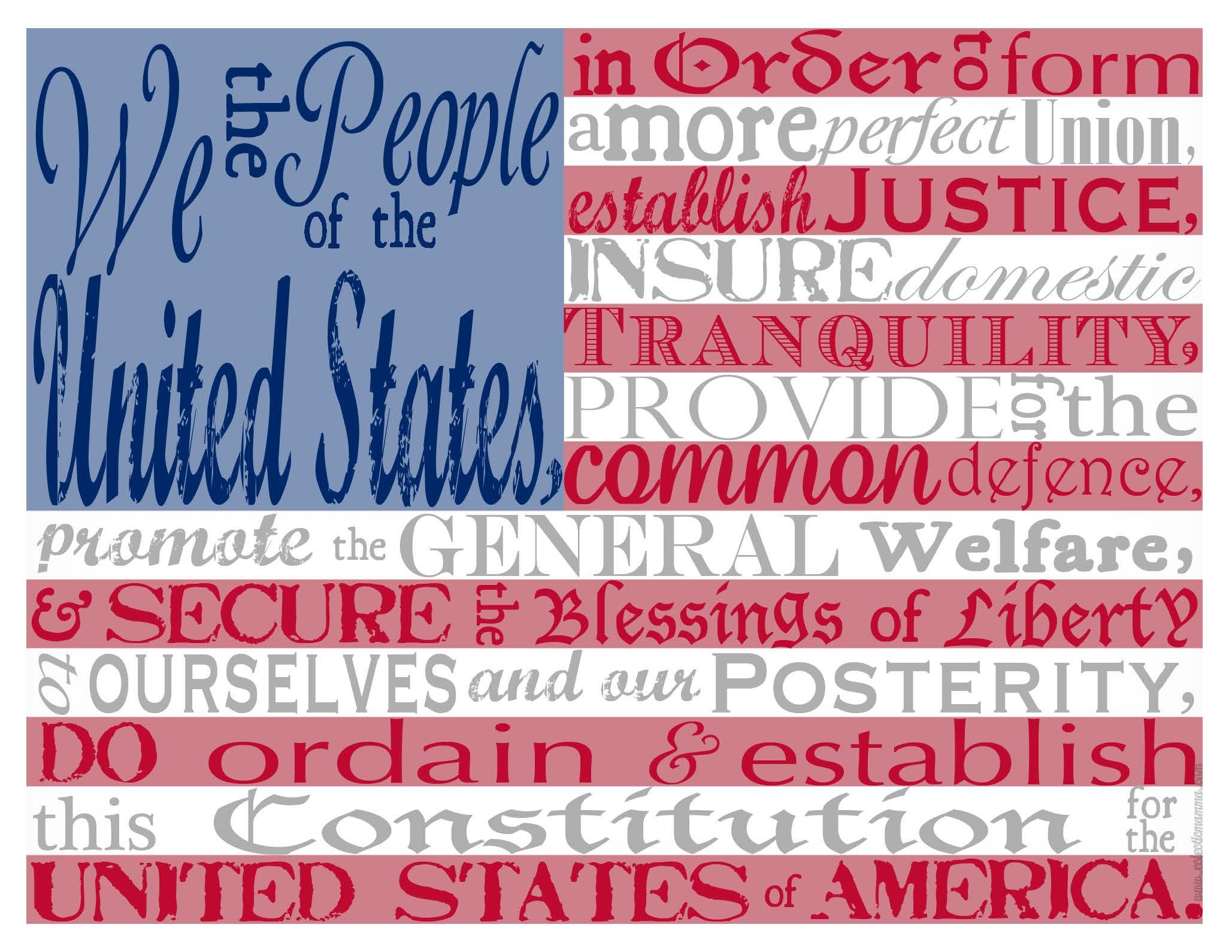 American Flag With The Preamble To The Constitution Free