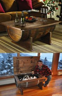 DIY Old Wine Barrel Coffee Table With Storage For Cool ...