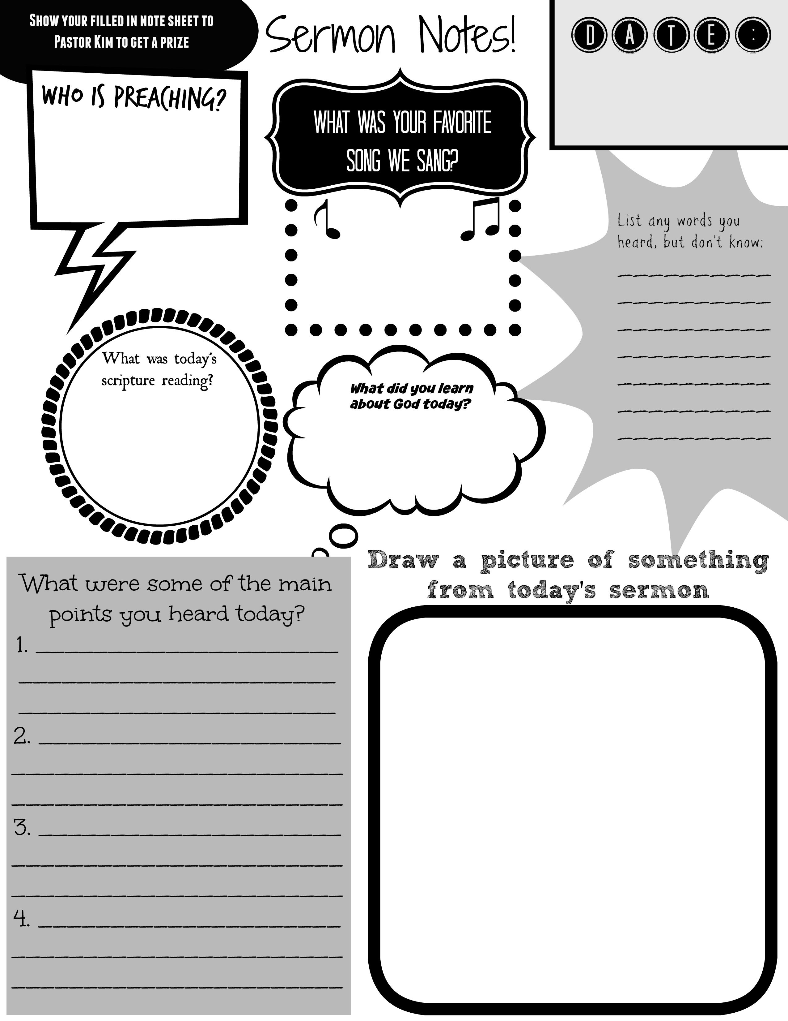 Sermon Notes For Kids Who Are Too Old For Children S