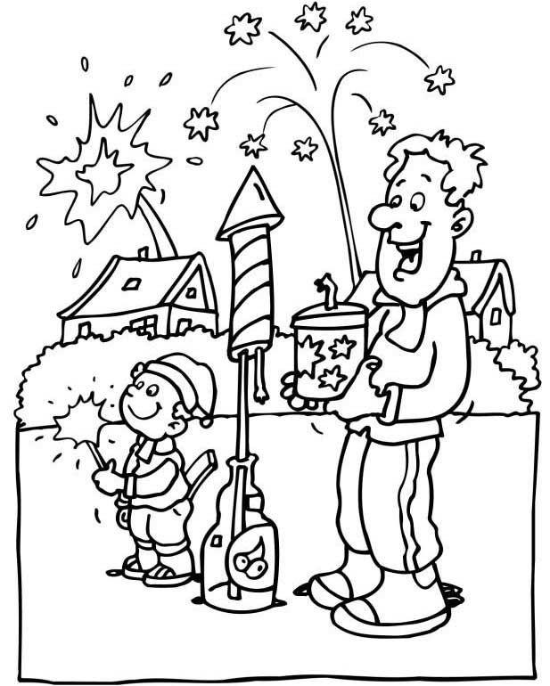Feuerwerk Silvester Ausmalbilder - Silvester Ausmalbilder