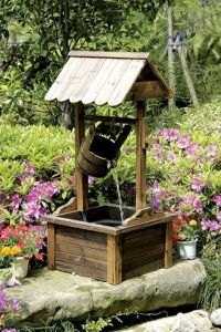 Wishing Well Wood Outdoor Patio Water Fountain with Pump ...