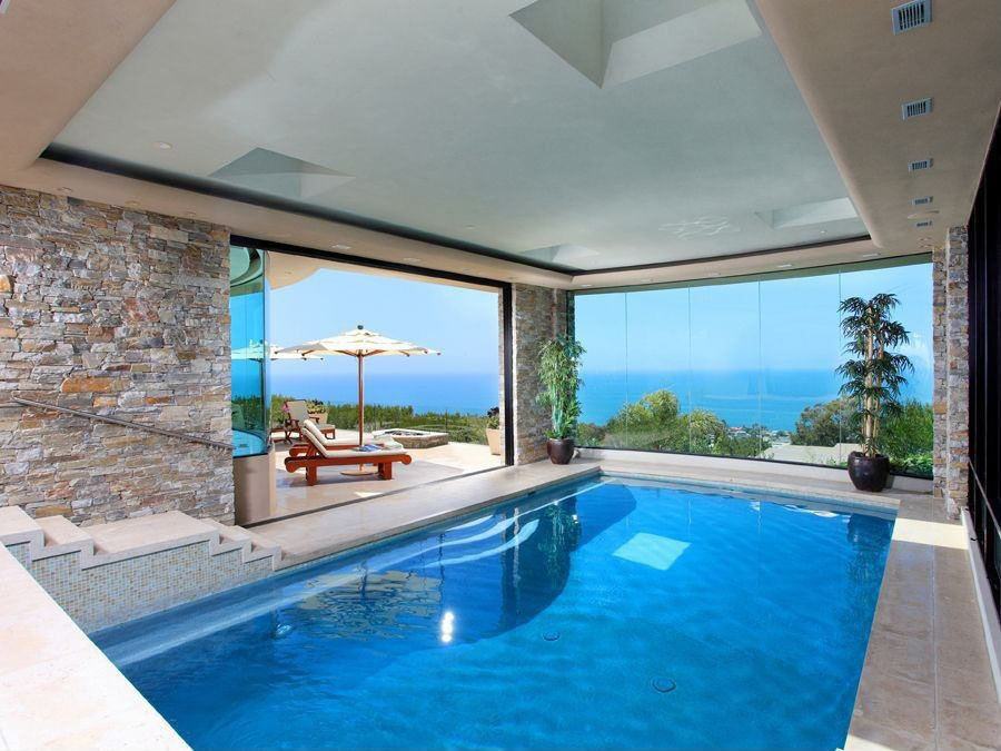 Modern Indoor Pool With Ocean View Saved From:http://www