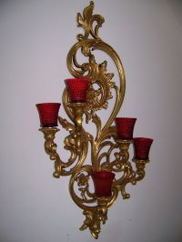 "VTG Large 35"" Dart Homco Home Interior Syroco Gold 5 Arm ..."