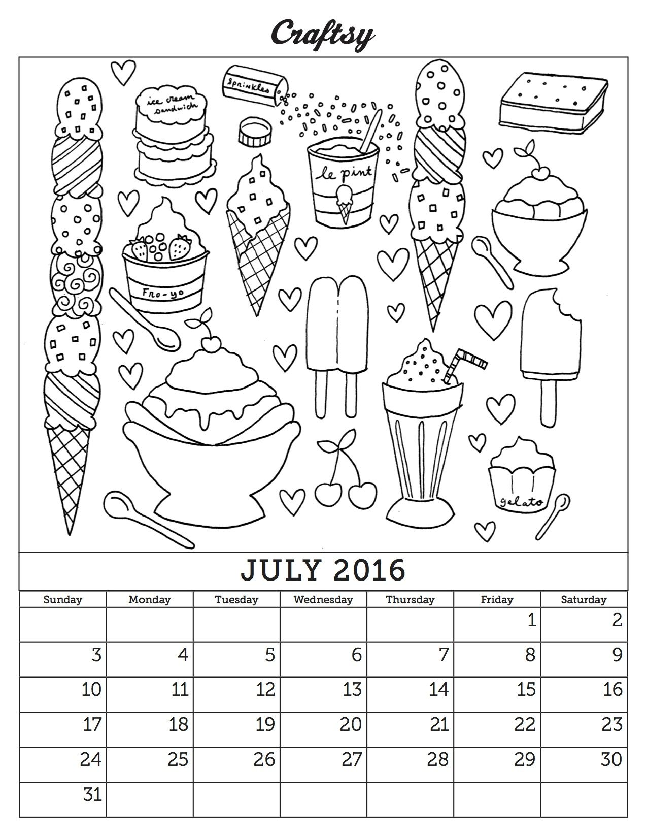 July Free Coloring Book Calendar Page