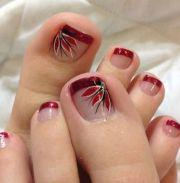 glitter french tip toe nail art