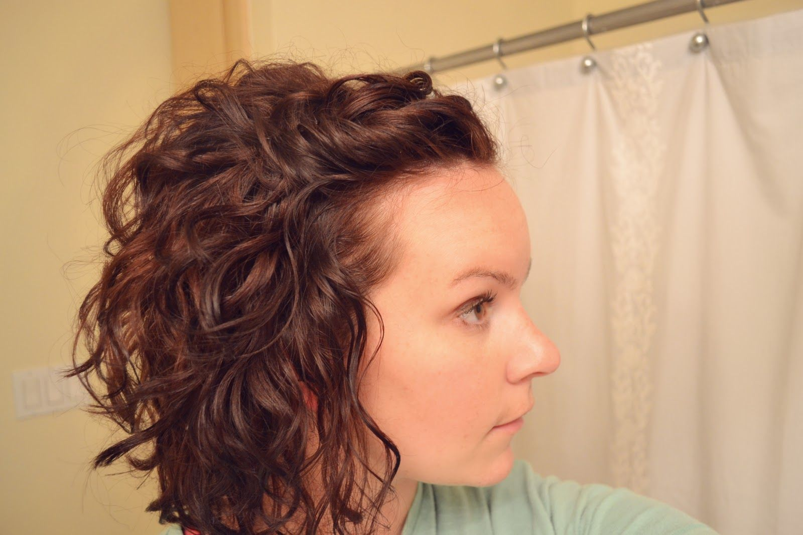 inverted curly bob with front pinned up  Pin Back