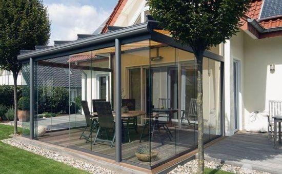 Terrassenglasdach Alu Veranda Verglasung Überdachung Ideen Rund