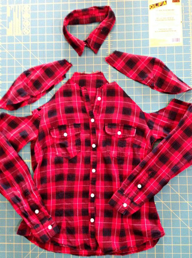 Cold shoulder flannel shirt refashion cut out shoulders