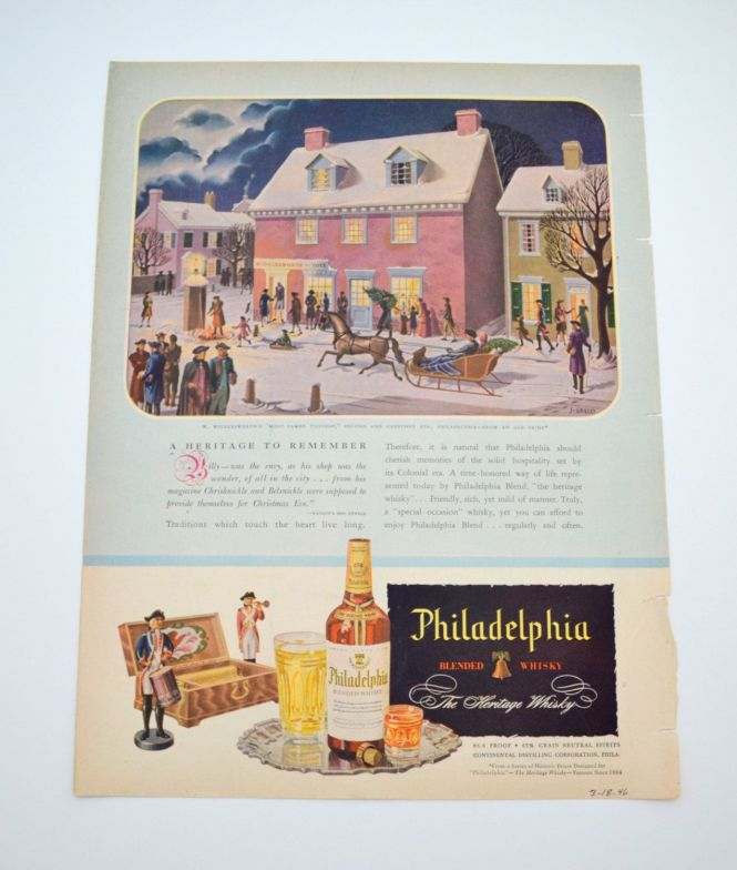 Vintage Philadelphia Whisky Ad Wigglesworth Toy Englander Mattress On Other Side
