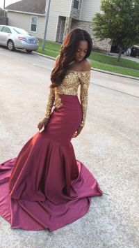 Sequined Gold & Burgundy Prom Dress | Dresses and two ...