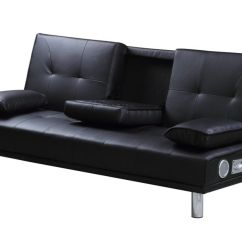 Sofa Bed Black Faux Leather Narrow Table With Outlet Manhattan Built In Bluetooth Speakers