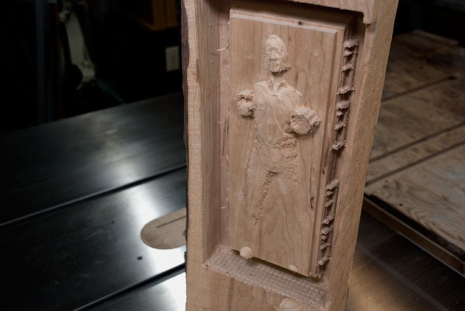 I carved this replica of Han Solo frozen in carbonite