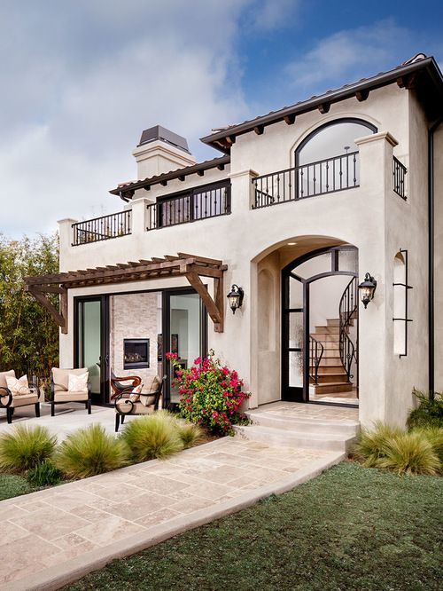 Exterior Modern Mediterranean With Outdoor Fireplace Design Your