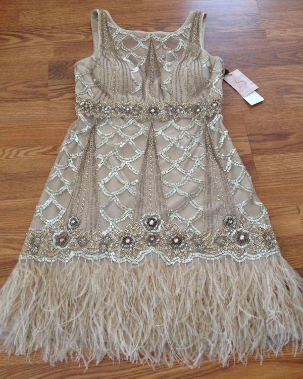 Sue Wong Gatsby Art Deco 1920' Beaded Sequin Feather