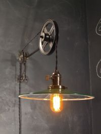 Vintage Industrial Pulley Sconce - Mirrored SHADE - Wall ...