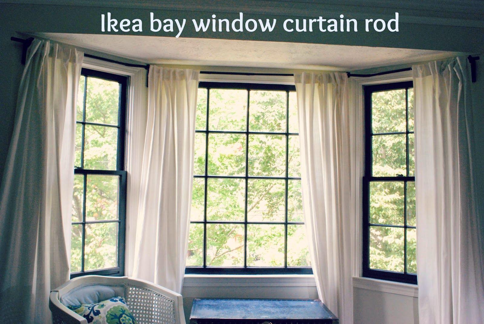Between Blue And Yellow Bay Window Curtain Rod Edwardian Ideas