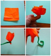 how to make tissue paper flowers without pipe cleaners ...