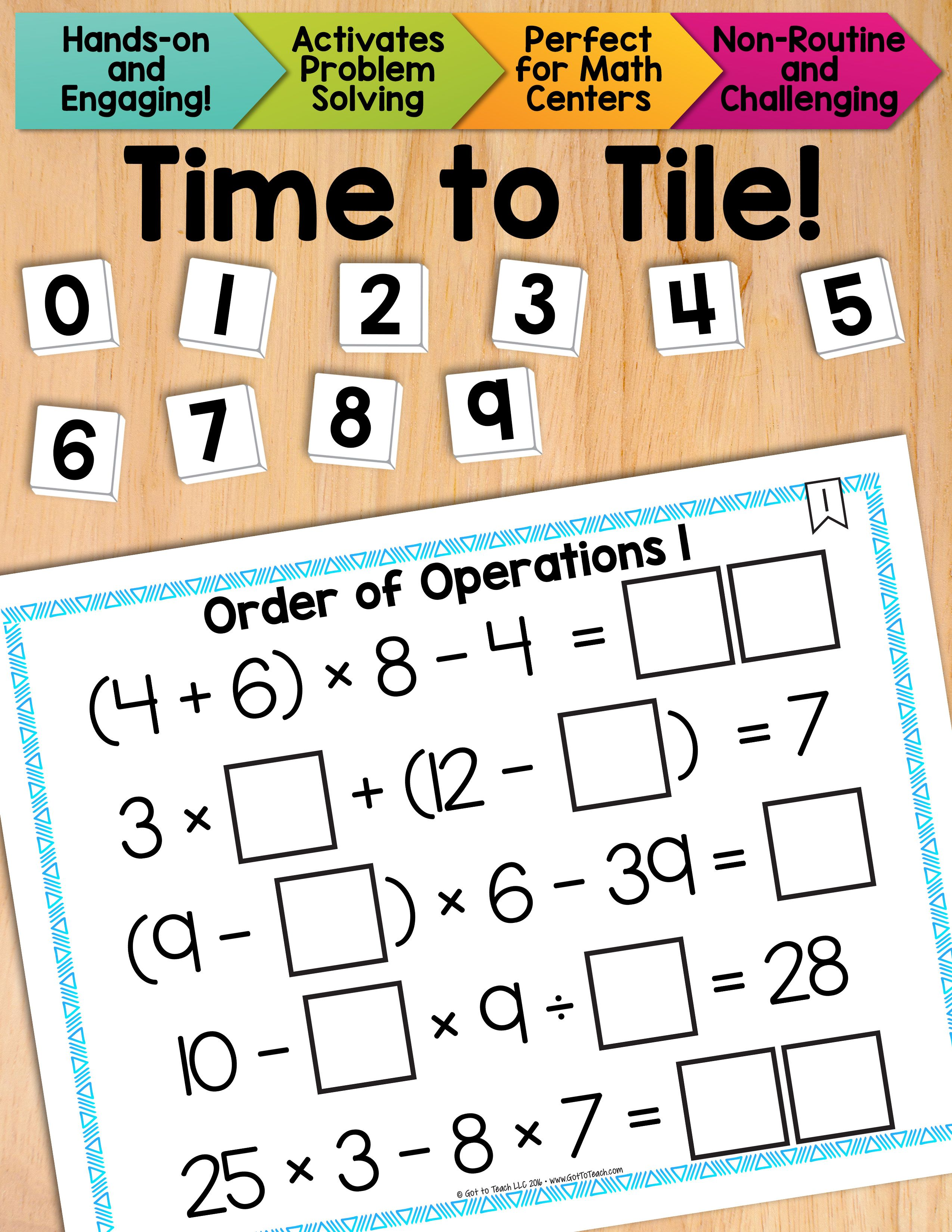 Math Tiles Order Of Operations 1 Without Exponents Math