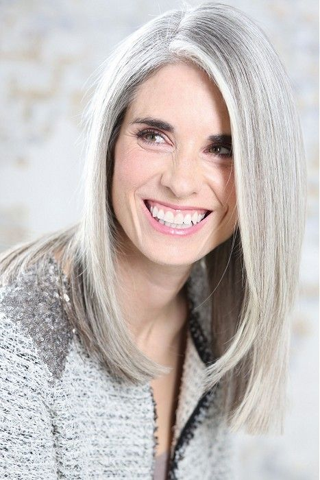 LOVE The Dark Eyebrows With Platinum Silver Hair! White Hot Long