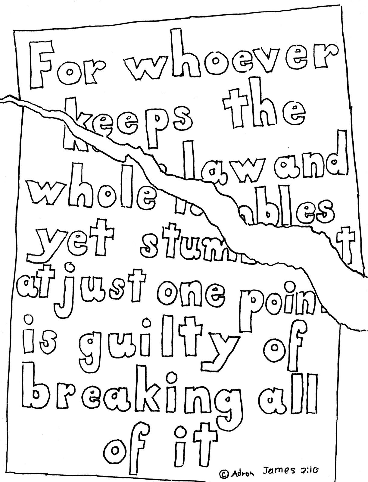 Coloring Pages for Kids by Mr. Adron: James 2:10 Print And
