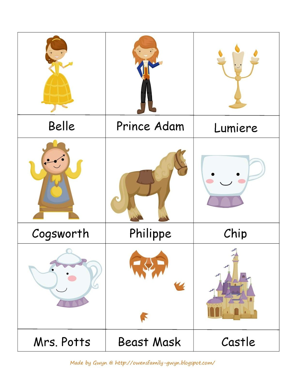 Preschool Printables Beauty And Beast S S Favorite