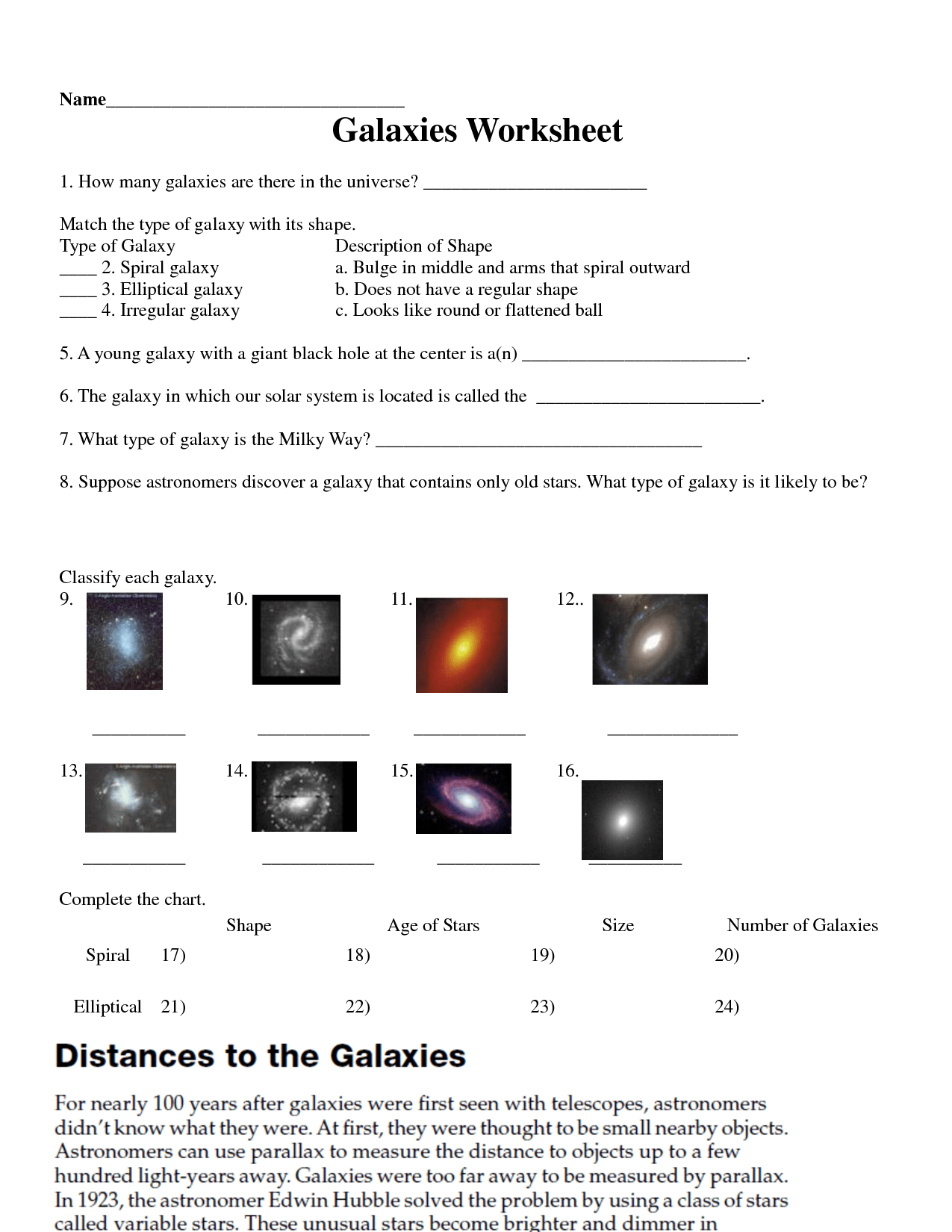 Galaxy Worksheet